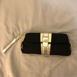 BCBG Black, Gold and Silver Clutch